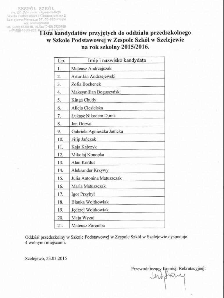 Lista dzieci przyjętych do oddziału przedszkolnego